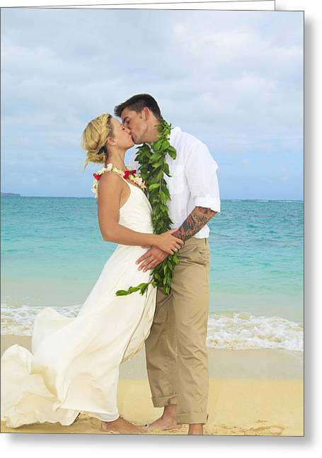 Sweet Touch Greeting Cards - Beach Newlyweds Greeting Card by Tomas del Amo - Printscapes