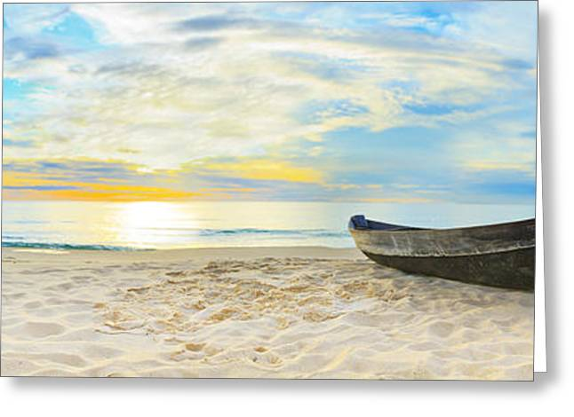 Ocean Panorama Greeting Cards - Beach panorama Greeting Card by MotHaiBaPhoto Prints