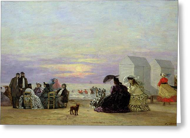 Boudin; Eugene Louis (1824-98) Greeting Cards - Beach Scene Greeting Card by Eugene Louis Boudin