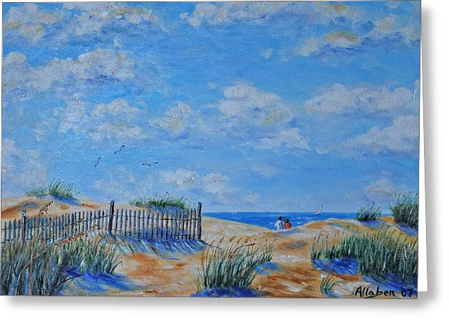 Sand Dunes Paintings Greeting Cards - Beach Strollers Greeting Card by Stanton Allaben