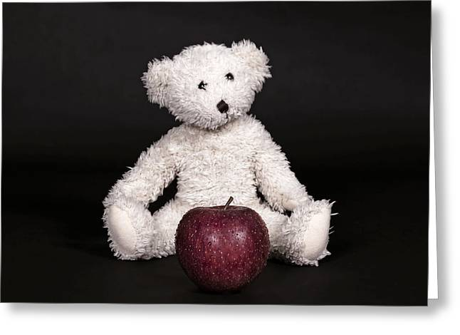 Black Teddy Greeting Cards - Bear And Apple Greeting Card by Joana Kruse