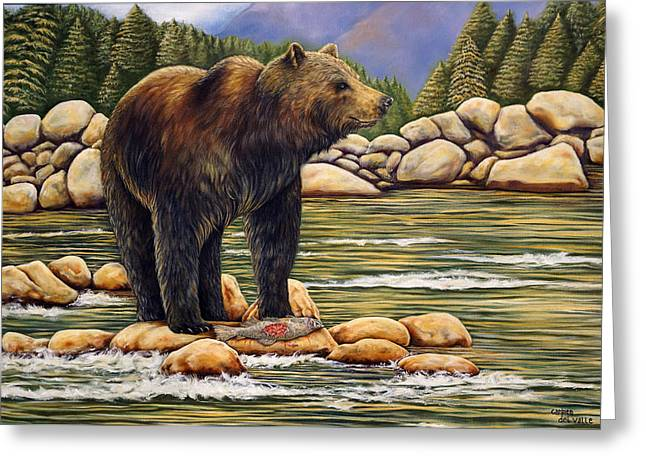 Salmon Paintings Greeting Cards - Bear Catch Of The Day Greeting Card by Carmen Del Valle