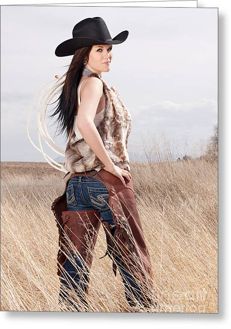 Cowgirl Greeting Cards - Beautiful Cowgirl Greeting Card by Cindy Singleton