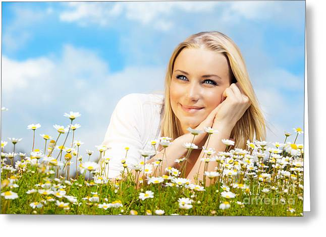 Beautiful Woman Enjoying Daisy Field And Blue Sky Greeting Card by Anna Omelchenko