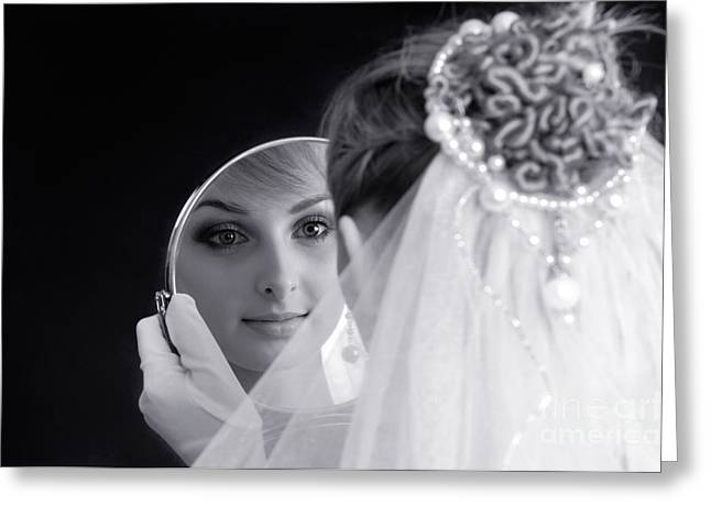 Artistic Expression Greeting Cards - Beautiful Woman in Bridal Veil Looking at a Mirror Greeting Card by Oleksiy Maksymenko