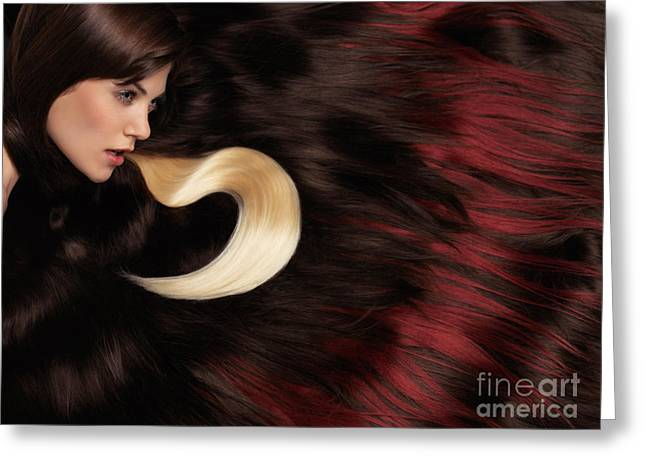 Shoulder-fired Greeting Cards - Beautiful Woman with Hair Extensions Greeting Card by Oleksiy Maksymenko
