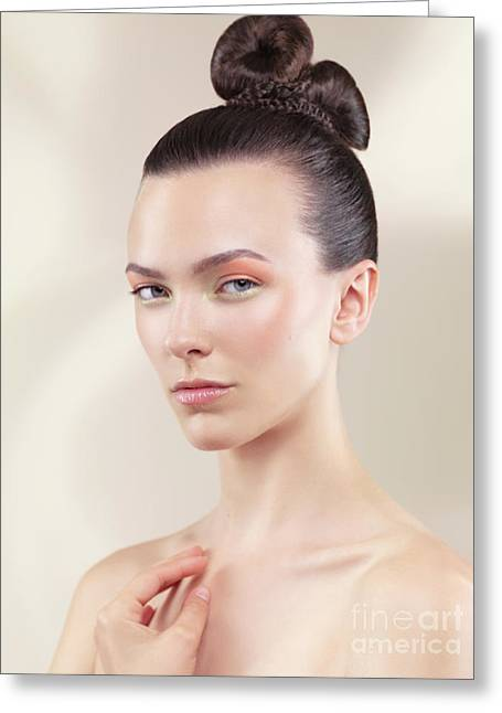 Updo Greeting Cards - Beautiful Young Woman Portrait Greeting Card by Oleksiy Maksymenko