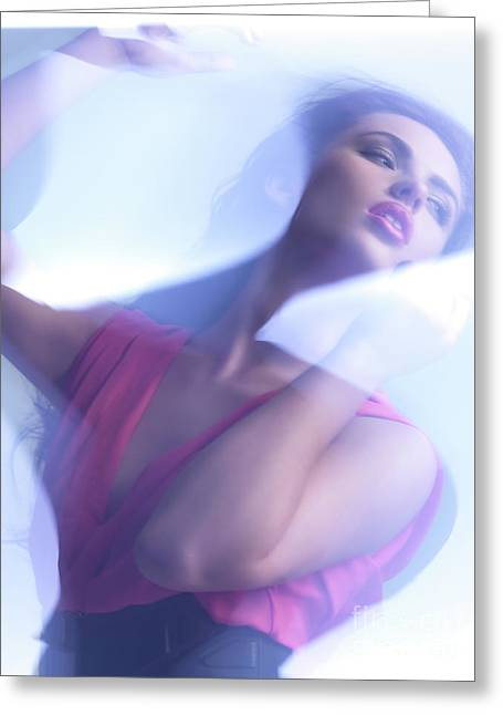 Future Tech Greeting Cards - Beauty Photo of a Woman in Shining Blue Settings Greeting Card by Oleksiy Maksymenko