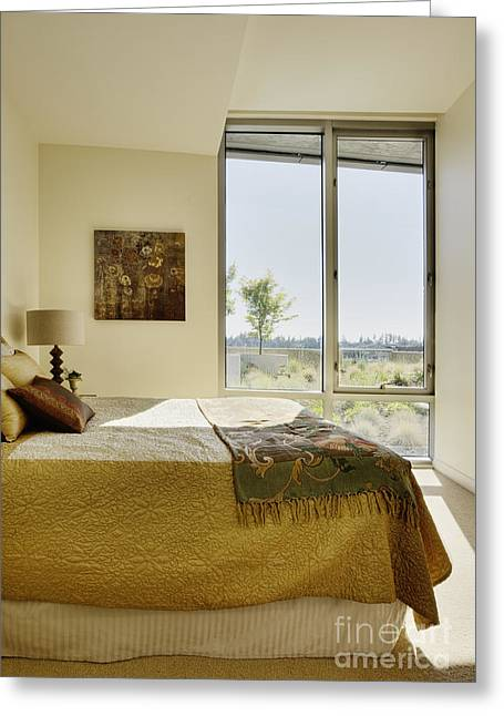 Angled Windows Greeting Cards - Bedroom Interior Greeting Card by Andersen Ross