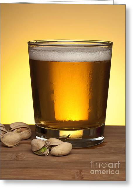 Refreshment Greeting Cards - Beer in glass Greeting Card by Blink Images