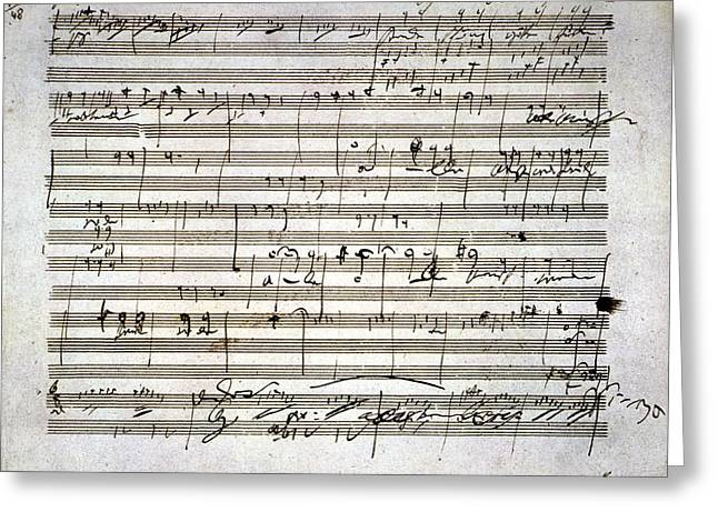 Sheet Greeting Cards - Beethoven Manuscript Greeting Card by Granger