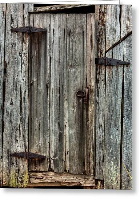 Wooden Antique Building Greeting Cards - Behind Closed Doors Greeting Card by JC Findley
