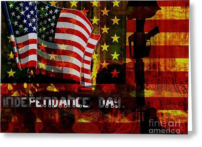Recently Sold -  - American Independance Mixed Media Greeting Cards - Behind the Scenes Greeting Card by Fania Simon