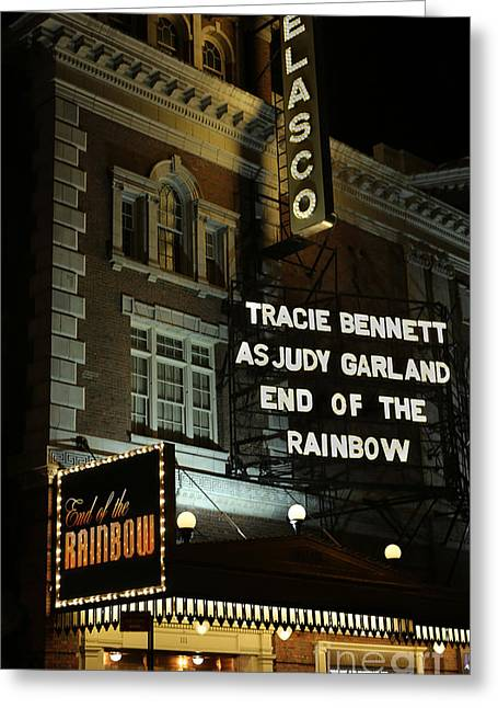 Do Business Greeting Cards - Belasco Theatre Over the Rainbow Greeting Card by Lee Dos Santos