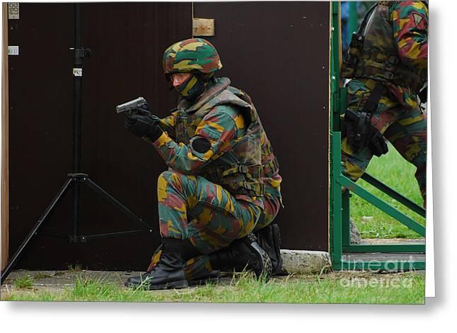 Belgian Paracommandos Entering Greeting Card by Luc De Jaeger