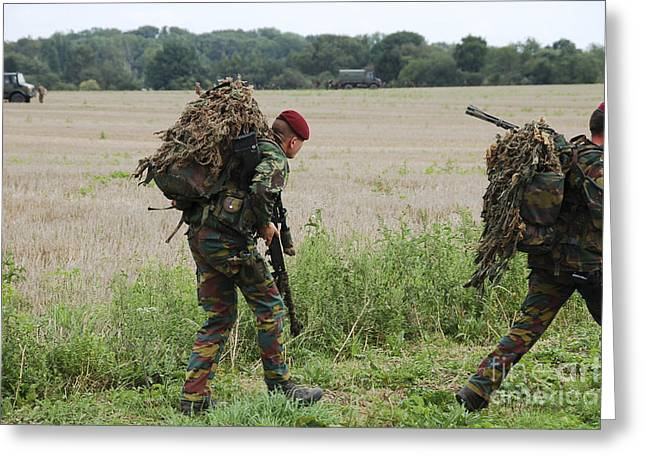 Belgian Paratroopers Red Berets Greeting Card by Luc De Jaeger