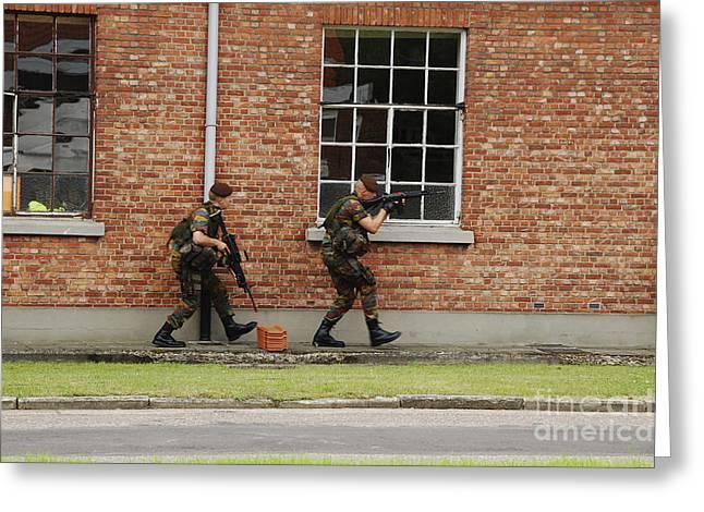 Belgian Soldiers On Patrol Greeting Card by Luc De Jaeger