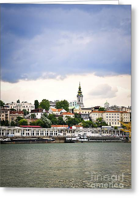 Belgrade Cityscape On Danube Greeting Card by Elena Elisseeva