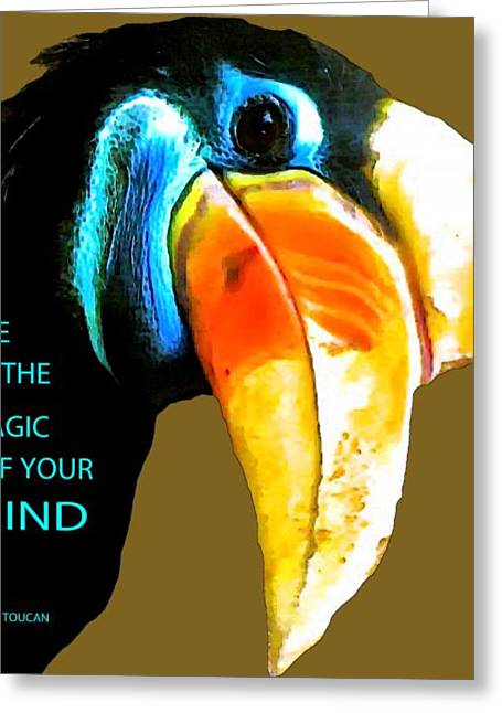 Designs On Face Greeting Cards - Believe Toucan Greeting Card by Debra     Vatalaro