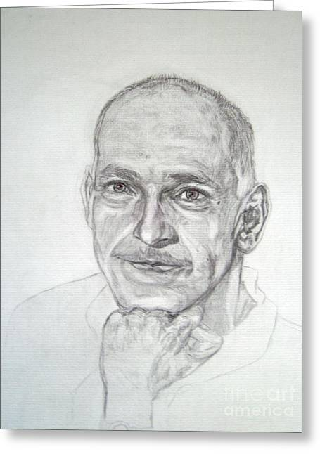 Famous Person Drawings Greeting Cards - Ben Kingsley Greeting Card by Nancy Rucker