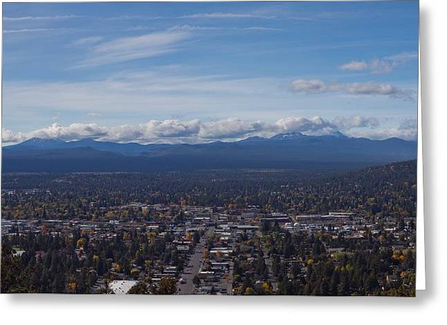 Bend Oregon From Pilot Butte Greeting Card by Twenty Two North Photography