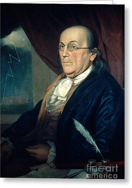 Second Continental Congress Greeting Cards - Benjamin Franklin, American Polymath Greeting Card by Photo Researchers