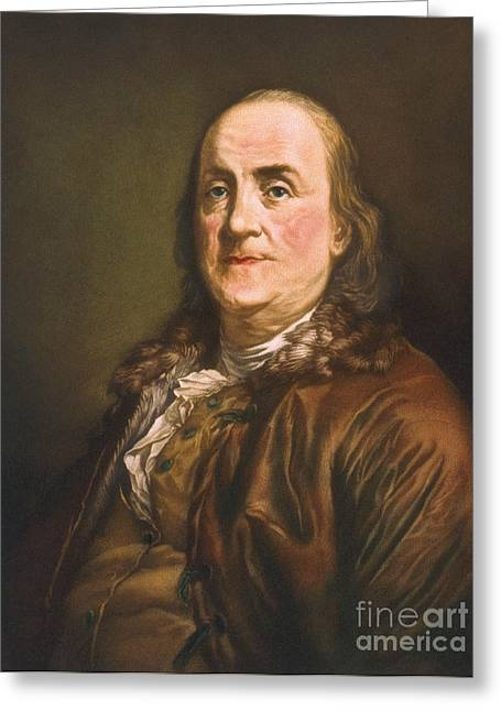 Spokesman Greeting Cards - Benjamin Franklin, American Polymath Greeting Card by Science Source
