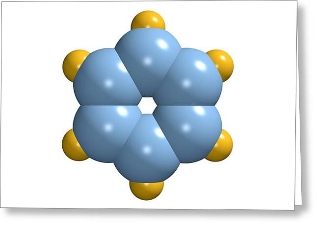 Carcinogenic Greeting Cards - Benzene Molecule Greeting Card by Dr Mark J. Winter