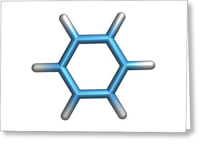 Carcinogenic Greeting Cards - Benzene Molecule Greeting Card by Dr Tim Evans