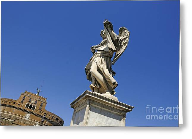 Castel Greeting Cards - Bernini Statue on the Ponte Sant Angelo Greeting Card by Bernard Jaubert