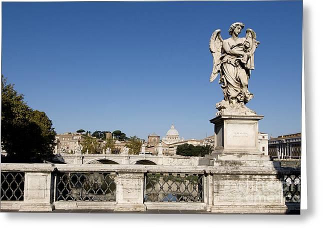 Angelo Greeting Cards - Bernini Statue on the Ponte Sant Angelo. River Tiber. Rome Greeting Card by Bernard Jaubert