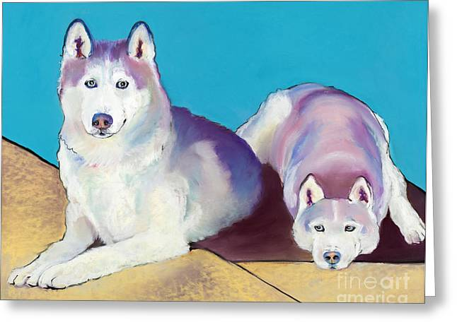 Working Dog Greeting Cards - Best Buddies Greeting Card by Pat Saunders-White
