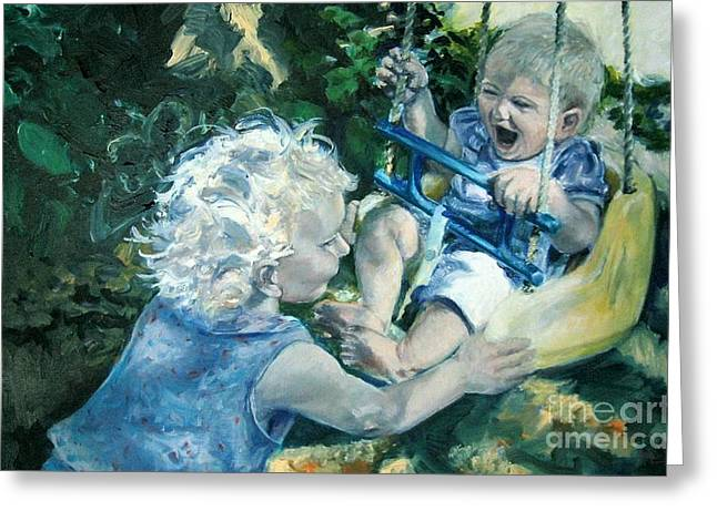 Child Swinging Paintings Greeting Cards - Best Friends Greeting Card by Patty Kingsley