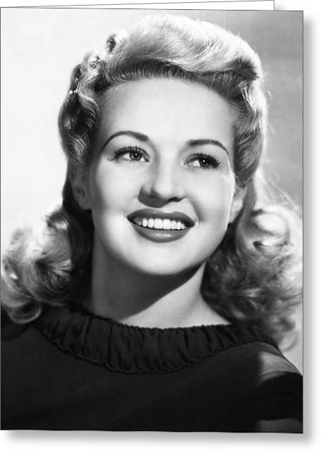1940s Fashion Greeting Cards - Betty Grable (1916-1973) Greeting Card by Granger