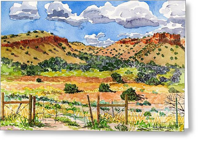Pinion Paintings Greeting Cards - Beyond Ojo Caliente Greeting Card by Gurukirn Khalsa