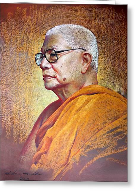 Thai Pastels Greeting Cards - Bhudhathas Bhikku Greeting Card by Chonkhet Phanwichien