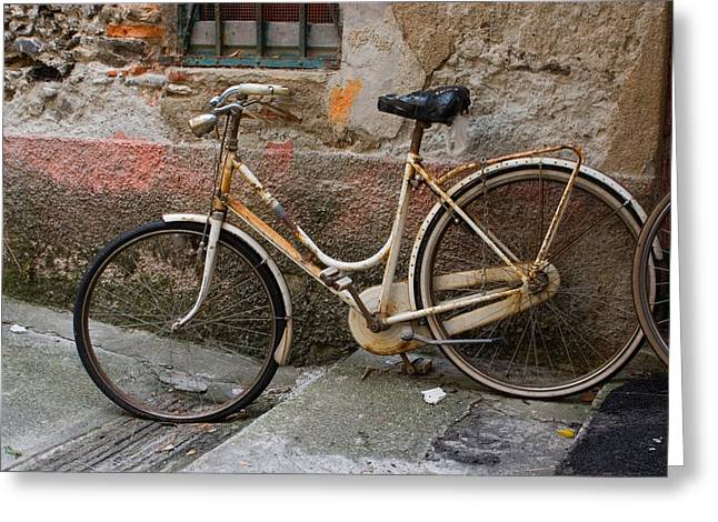 Bicycling Tuscany Greeting Cards - Bicycle and textured wall Greeting Card by Cliff Wassmann