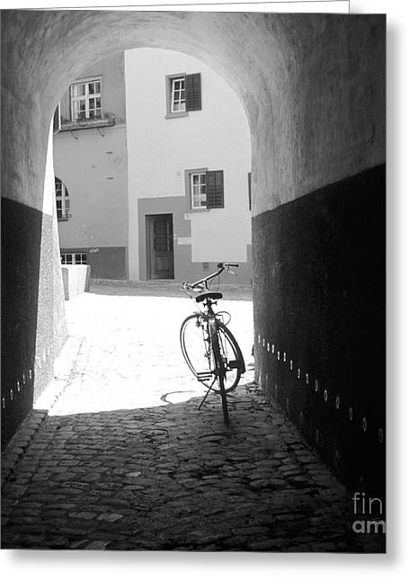 Swiss Culture Greeting Cards - Bicycle in Tunnel Greeting Card by Gordon Wood