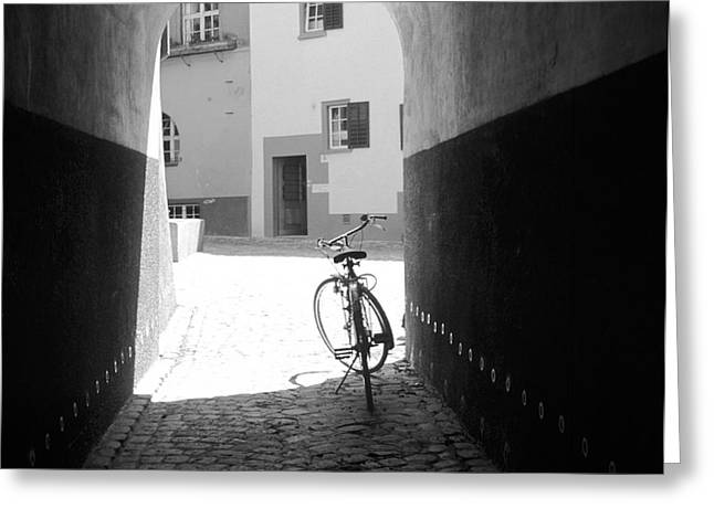 Bicycle in Tunnel Greeting Card by Gordon Wood
