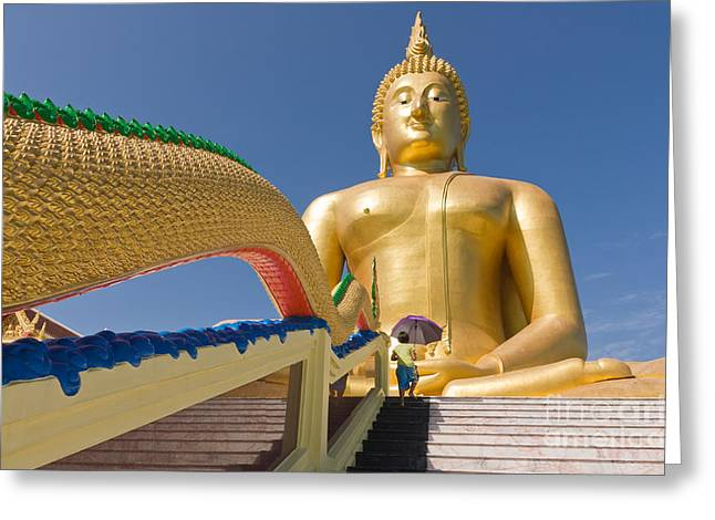 Angthong Greeting Cards - Big buddha Greeting Card by Buchachon Petthanya
