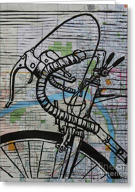 Blockprint Drawings Greeting Cards - Bike 2 on map Greeting Card by William Cauthern