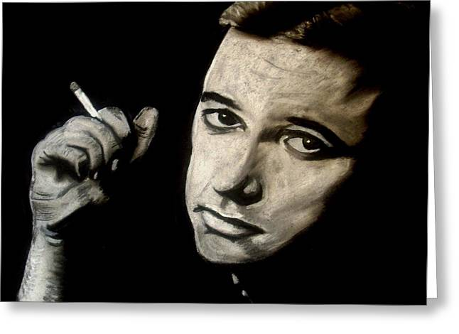 Comedian Pastels Greeting Cards - Bill Hicks Greeting Card by Laura Seed