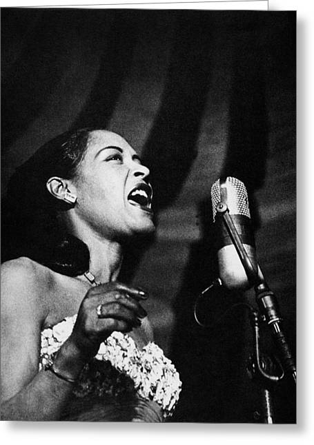 Microphones Greeting Cards - Billie Holiday (1915-1959) Greeting Card by Granger