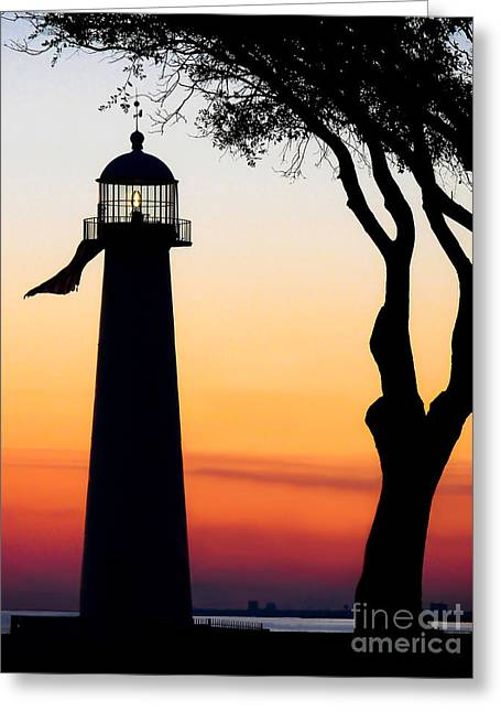 Mississippi Gulf Coast Greeting Cards - Biloxi Lighthouse at Dusk Greeting Card by Joan McCool