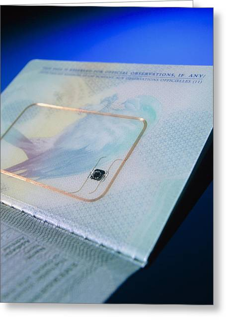 Contactless Greeting Cards - Biometric Passport Chip Greeting Card by Steve Horrell