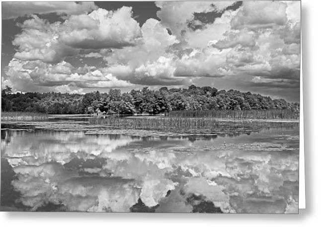 Overcast Day Greeting Cards - Black And White Storm Clouds Cobbossee Lake Maine Fine Art Print Greeting Card by Keith Webber Jr