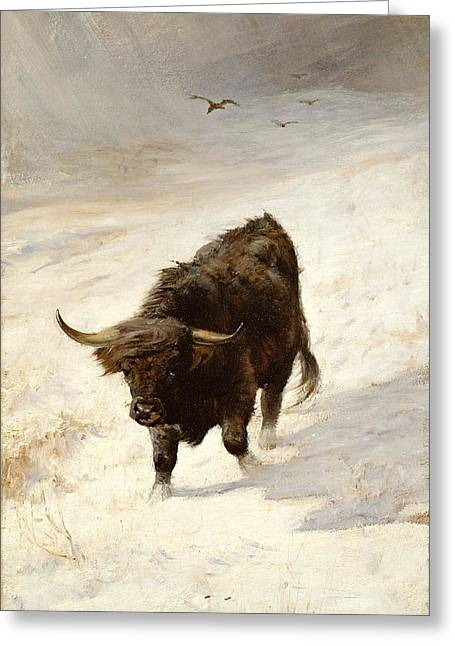 Beast Paintings Greeting Cards - Black Beast Wanderer Greeting Card by Joseph Denovan Adam
