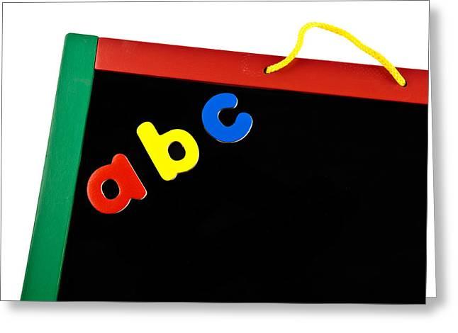 Abc Greeting Cards - Black Board Greeting Card by Tom Gowanlock