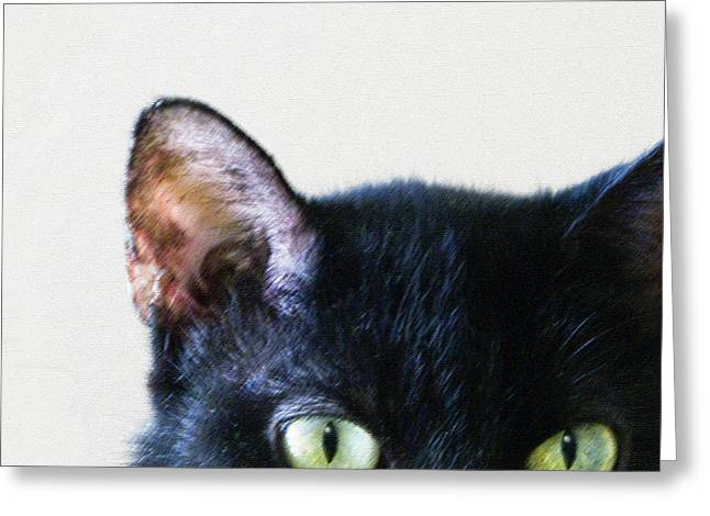 Pink Ears Greeting Cards - Black Cat Green Eyes Greeting Card by Glennis Siverson