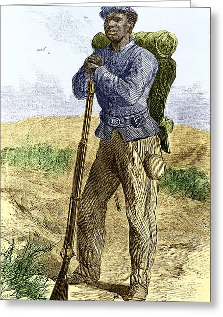 African American History Greeting Cards - Black Civil War Soldier Greeting Card by Photo Researchers